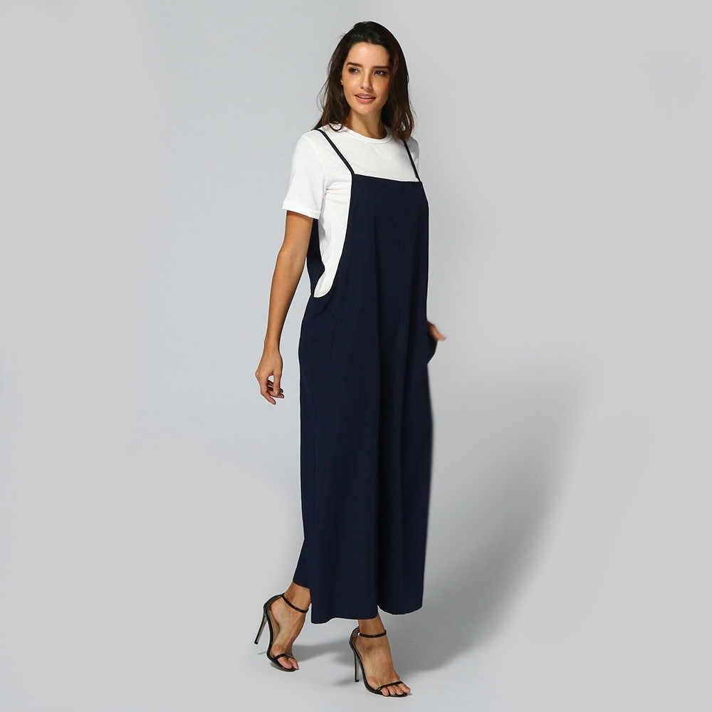 Для женщин однотонное хлопковое белье широкие брюки комбинезон весна без рукавов комбидресс женский Габаритные Повседневное свободные комбинезон плюс Размеры 5X #3