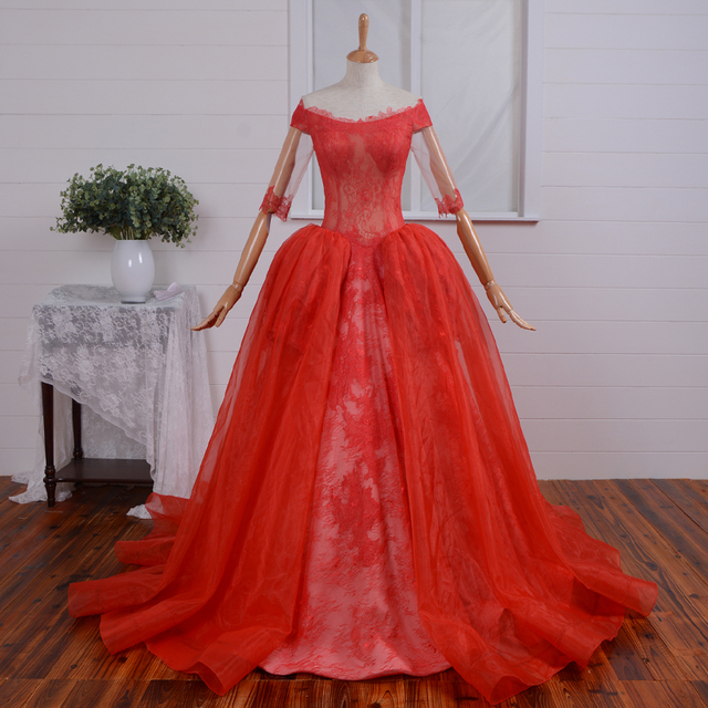 Victorian Style Bodice See Through Princess Ball Gown Red Wedding Dresses Real Sample Half Sleeve Off