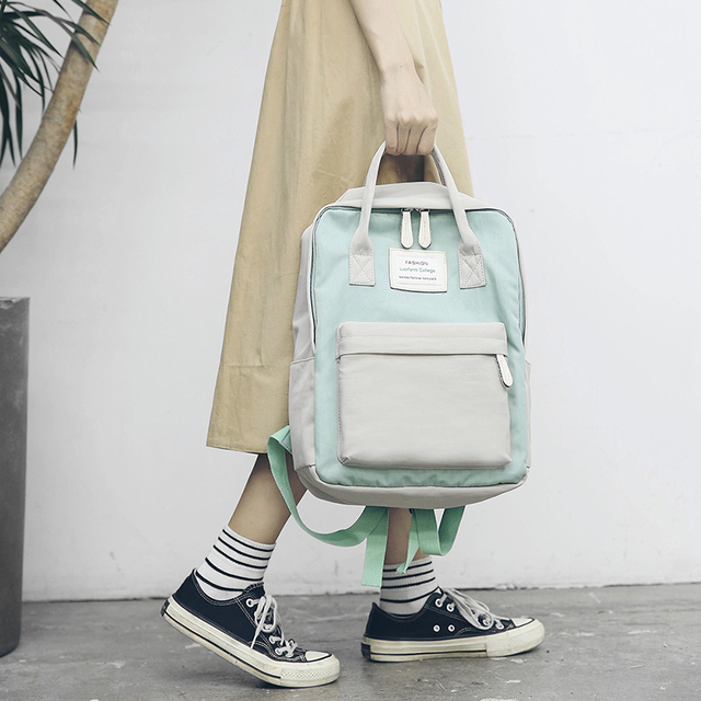 Women Hot Canvas Backpacks Candy Color Waterproof  School Bags for Teenagers Girls Laptop Backpacks Patchwork Backpack New 2019 1