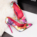 Women summer spring satin new thin high heels hot sale printing flowers classic high quality pointed toe  women shoes 102