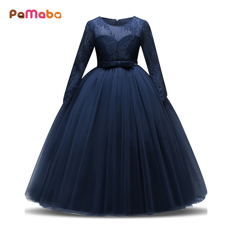 0fbe494872c4 PaMaBa Girls Lace Formal Princess Ball Gown Teenager Prom Dresses Long  Sleeve Birthday Party New Year