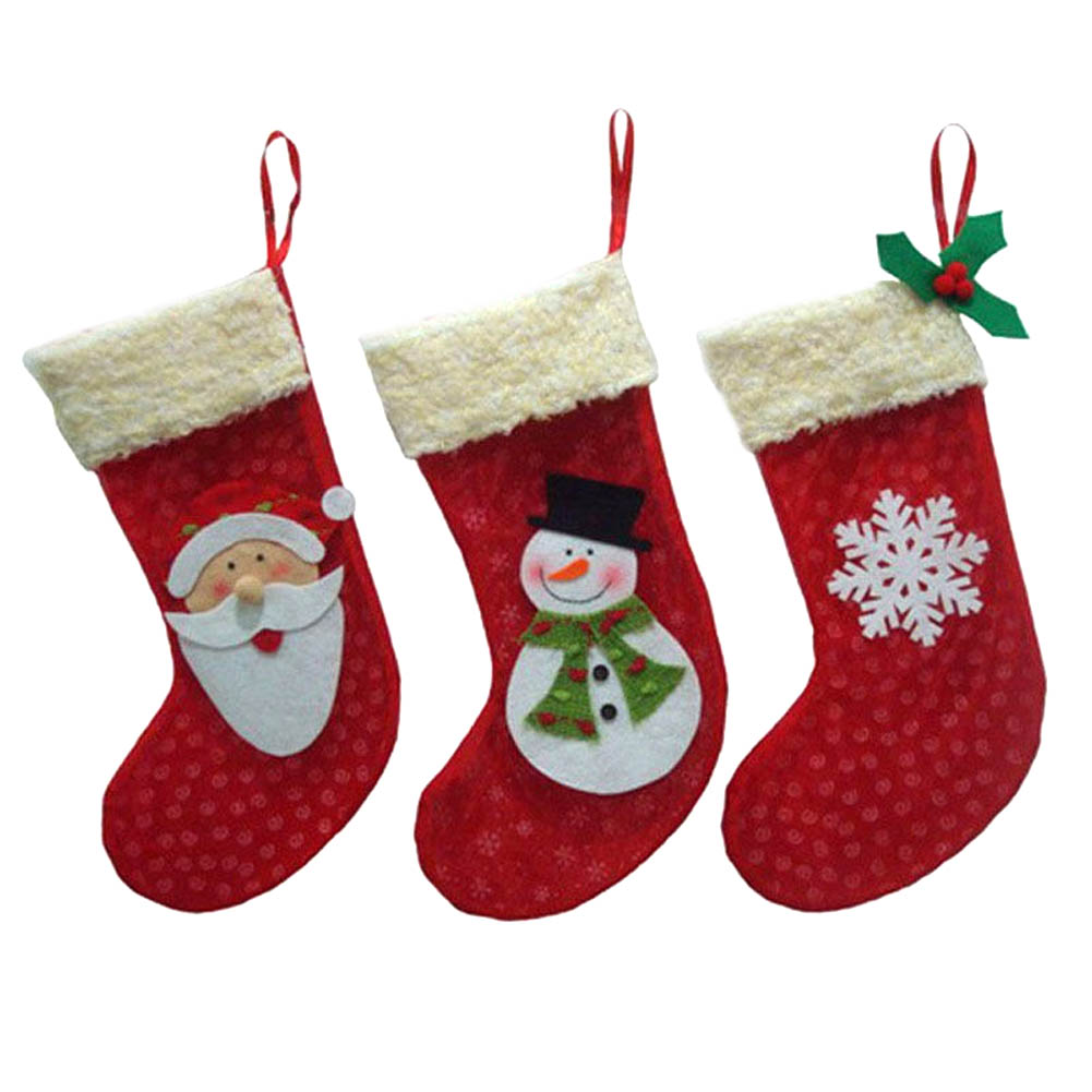 2017 new year 3 piecesset mini christmas stockings socks santa claus candy gift bag xmas tree decor festival party ornament in stockings gift holders - Christmas Socks Decoration