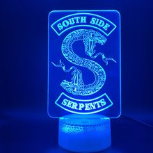 3D Illusion Lamp Riverdale Gift Snake Logo Home Decoration Nightlight Table Lamp Southside Serpents Sign Kids Led Night Light(China)