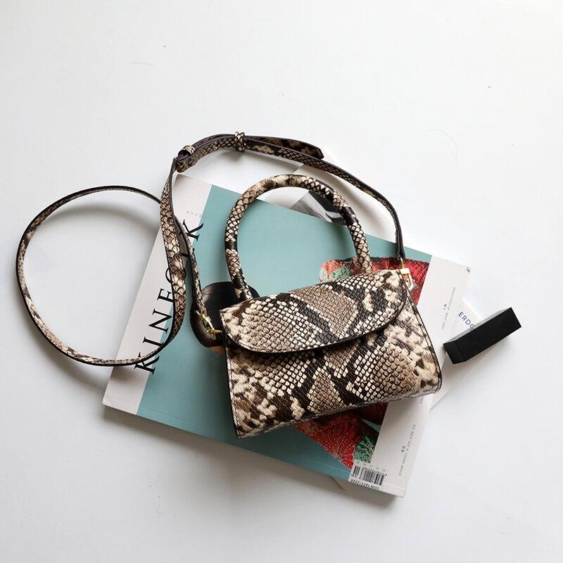Burminsa Vintage Mini Snakeskin Genuine Leather Handbags For Women Personality Design Small Ladies Shoulder Messenger Bags