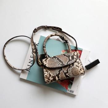 Burminsa Vintage Mini Snakeskin Genuine Leather Handbags For Women Personality Design Small Ladies Shoulder Messenger Bags 2020