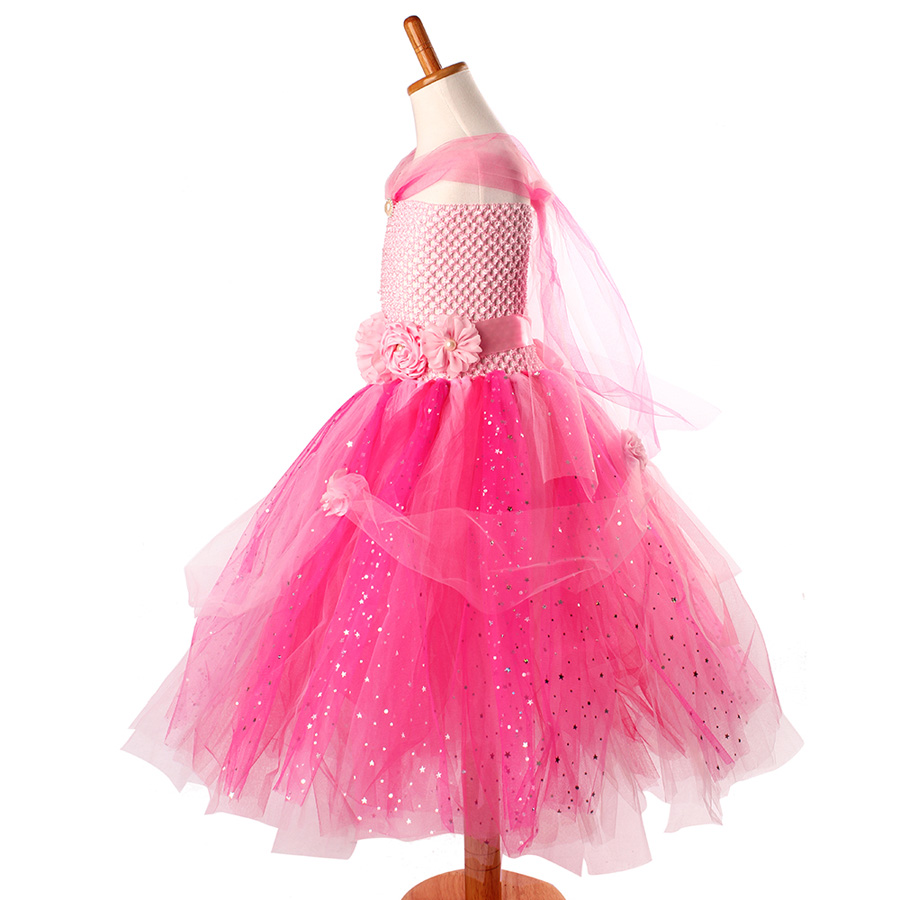 Beautiful Princess Tutu Gown for Weddings Birthday Dress Baby Girl Flower Tutu Dress Glittery Children Fancy Party Christmas Costumes (6)