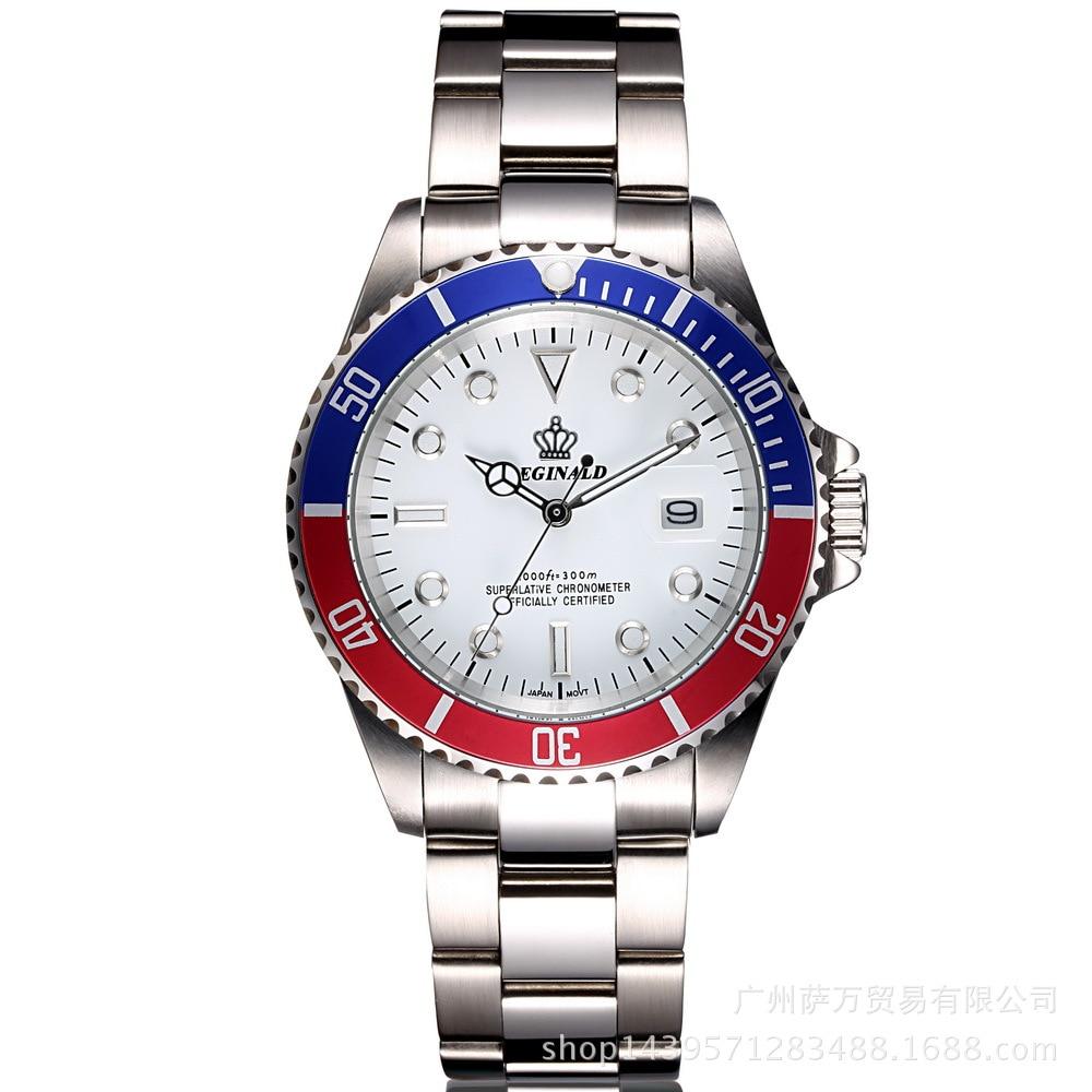 757befc914c Coroa REGINALD quartzo masculino relógio de Aço dos homens de negócios  informais calendário Japão Hight relógio de Pulso de Quartzo relógios de  calendário à ...