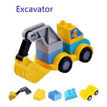 Coche excavadora de tráfico, tobogán de bloques de construcción grande, pieza clásica DIY, conjunto de juguetes de gran tamaño, accesorios compatibles con legoe