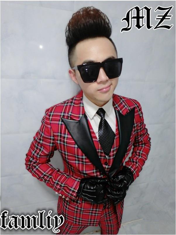 2018 NEW MEN Night Bar Dj Male Singer Bigbang Right Zhilong Scotland Red Collar Suit Case Black Leather Costume