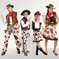 M~XL New 2016 West Cowgirl Children Cosplay Halloween Costumes for Kids Dress Up Party Girl Carnival Performance Stage Suit Set