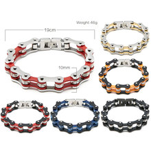Unisex fashion biker  bracelets jewelry stainless steel motorcycle chain bracelet bicycle wristband link bangle