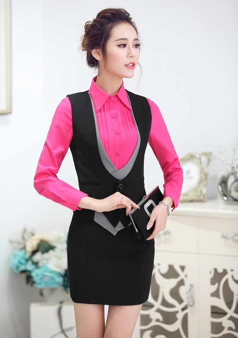 Formal Uniform Styles New 2015 Spring Autumn Business Work Suits Vest +  Skirt Ladies Office Blazers 1c08b4b25024