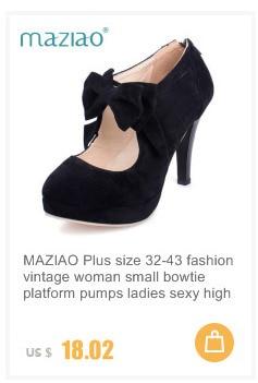 e2871dd27525 MAZIAO Plus Size 32 43 Fashion Vintage Woman Small Bowtie Platform ...