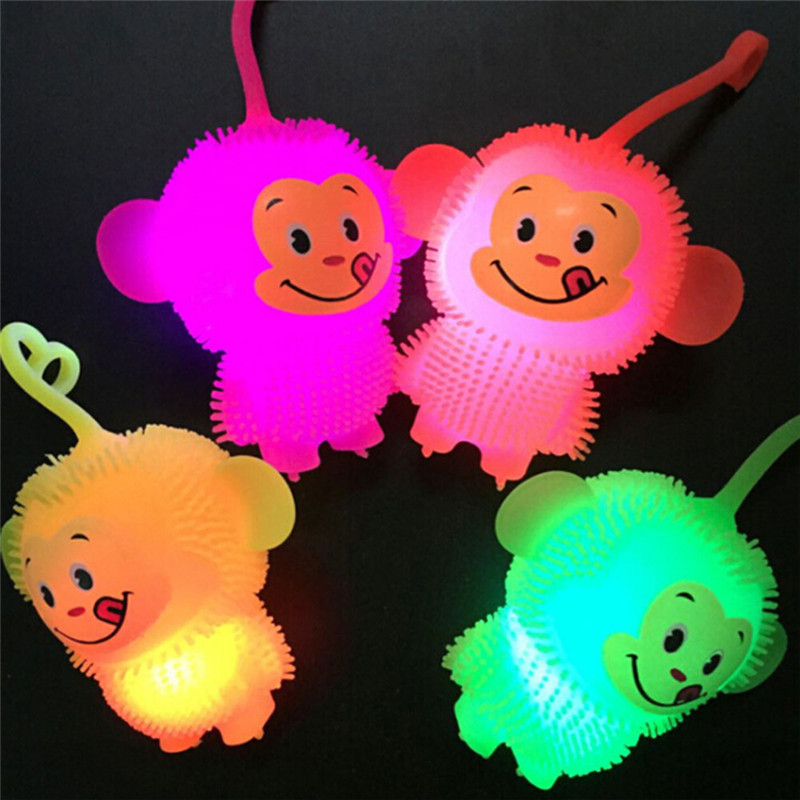 1 PC Glowing Luminous Led Light Up Toy Soft Elastic Monkey Squeeze Toy Doll Funny Baby Kids Birthdays Gift Color Random