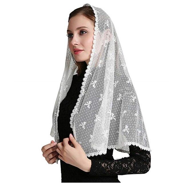 2019 Ivory Black Lace Chapel Scarf infinity veil Catholic Mantilla Veil for Church Head Cover Latin Mass Mantilla de Novia Negra