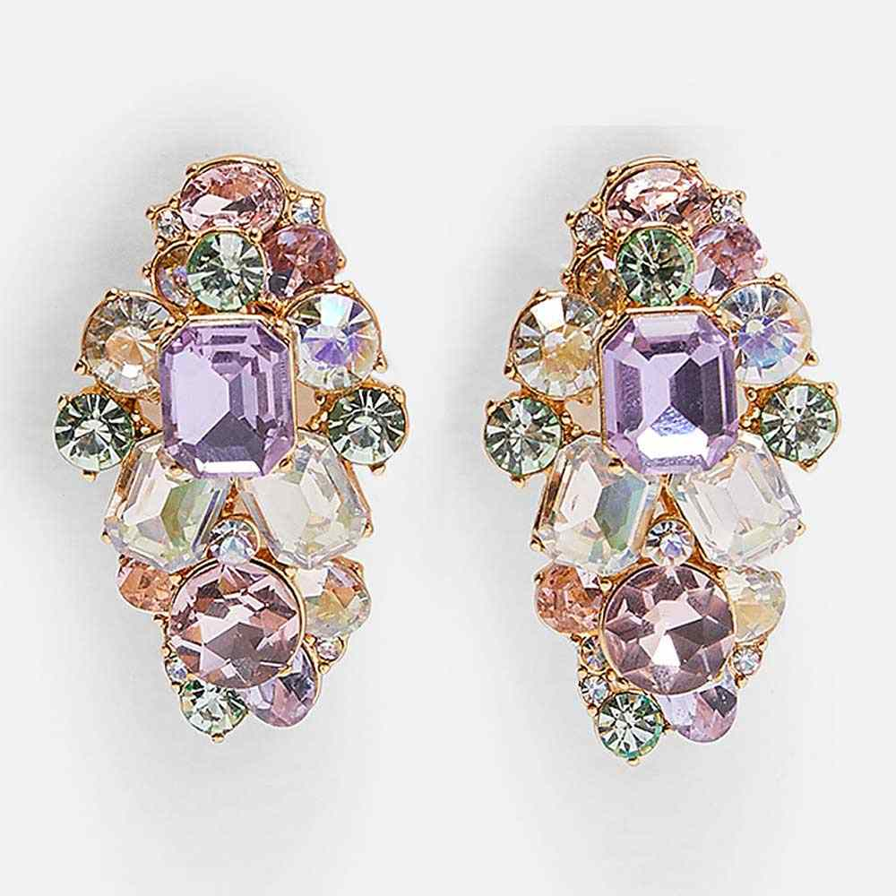Dvacaman ZA Purple Crystal Flower Drop Earrings Indian Bridal Wedding Statement Jewelry Gold Color Maxi Earrings Rhinestone Gift