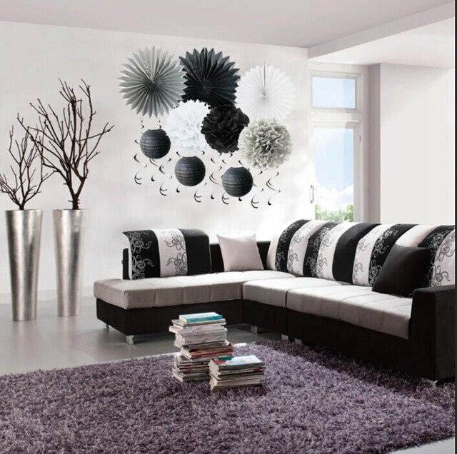10 Pcs Satu Set Putih Dan Hitam Dekorasi Pesta Tema Kertas Fan