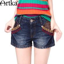 Artka 2015 женская ретро новая коллекция летней одежды высококачественные элегантные синие хлопоковые прохладные джинсовые шорты с вышивкой KN13933X
