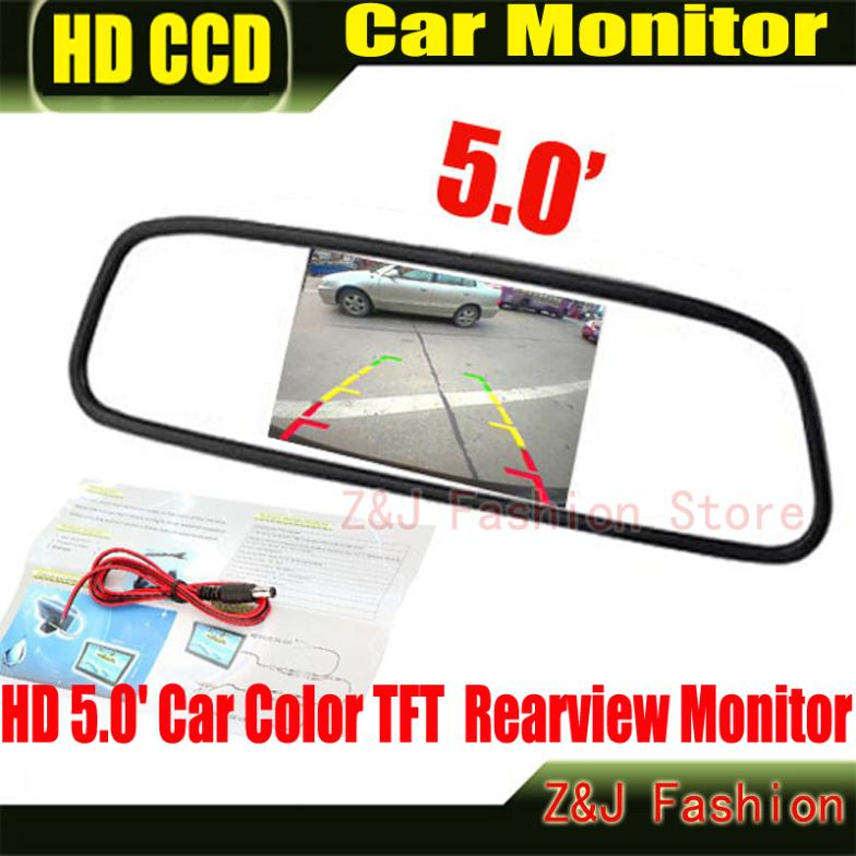 Factory Selling HD Monitor 5 Color TFT LCD Car Rearview Mirror Monitor 5 inch 16:9 screen DC 12V Car Monitor for DVD Camera VCR
