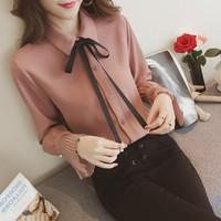 4xl Thin Horn Sleeve Blouse Cute Sweet Bow Long Sleeve Shirt Female Q0113