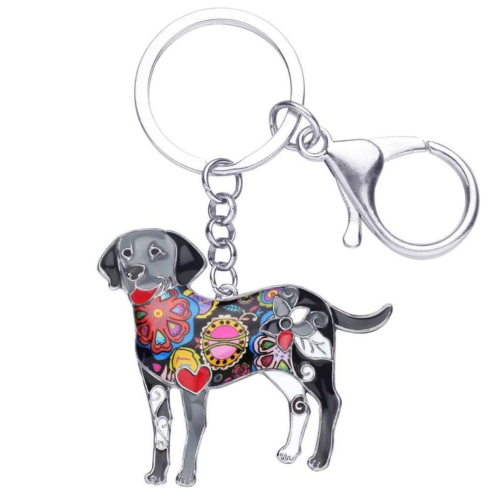 Bonsny Men Con Chó Labrador Móc Chìa Khóa Vòng Chìa Khóa Đồ Trang Sức Mới Cho Phụ Nữ Cô Gái Túi Quyến Rũ Mặt Dây Chuyền Chìa Khóa Xe Chủ Keychain phụ kiện
