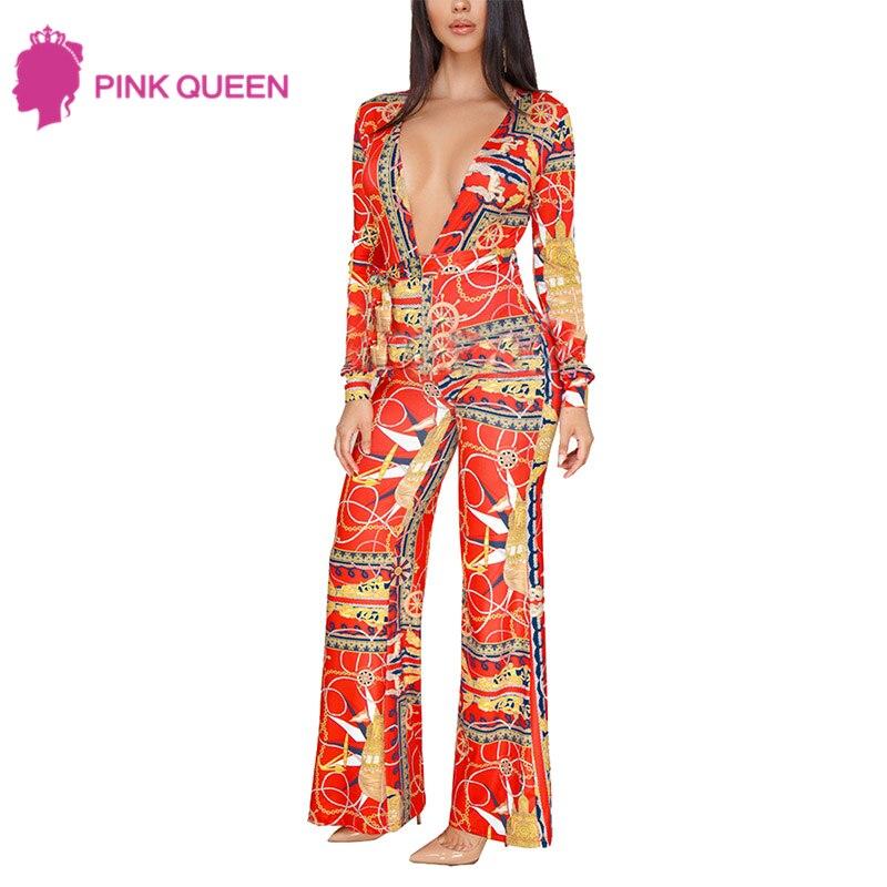Pink Queen Plus Size 2018 Sexy Summer Jumpsuit Elagant Digital Printed Long Sleeves Deep V Neck Long Playsuit Wide Leg Jumpsuit