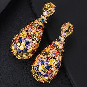 Image 4 - Роскошные сережки GODKI 75 мм Макси размера, свадебные сережки в форме капли с фианитом, модные ювелирные украшения