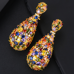 Image 4 - GODKI pendientes de circonia cúbica con forma de gota de agua, joyería de moda, 75mm