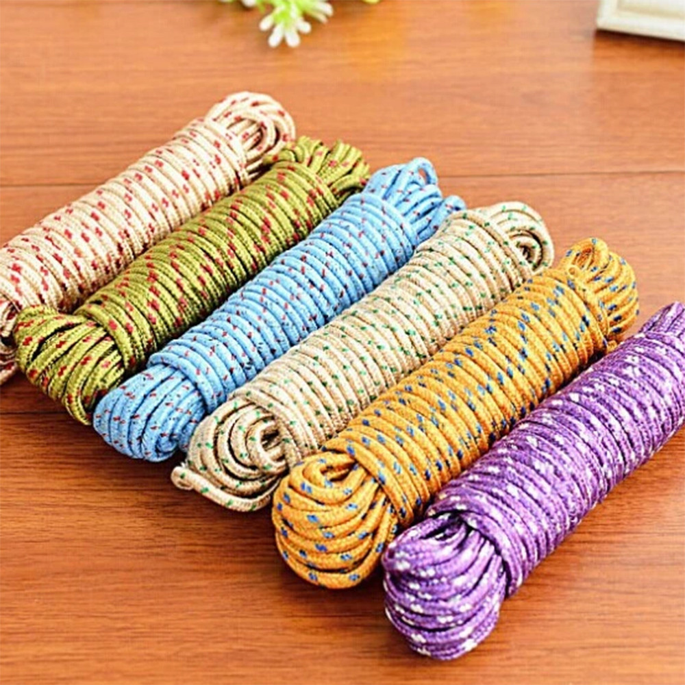 10 m Clothes Dryer Outdoor Cloth Hanging Rope Windbreak Non-slip Clothes line Multifunction Nylon Washing Clothes String Nibbler