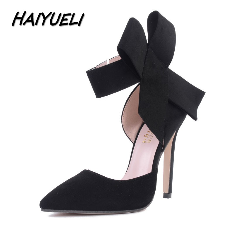 HAIYUELI New spring summer fashion sexy big bow pointed toe high heels sandals shoes woman ladies wedding party pumps dress shoe wholesale lttl new spring summer high heels shoes stiletto heel flock pointed toe sandals fashion ankle straps women party shoes