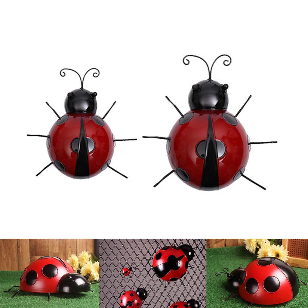 3PCS Metal Ladybug Fence Hanger Garden Wall Hanging Decoration Figurines Toy