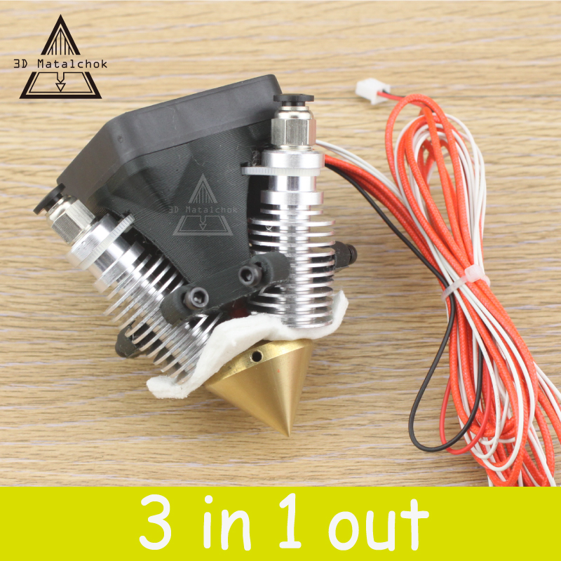 Diamond 3D Printer Extruder Hotend 3D V6 heatsink 3 IN 1 OUT Multi Nozzle KOSSEL full kit for 1.75/0.4mm 3d v6 short distance heatsink brass color nozzle 3 in 1 out 0 4mm for 1 75mm multi nozzle for 3d printer