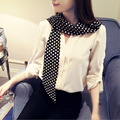 2016 Chic Skinny Scarf Women Polka Dot Print Soft Imitation Silk Satin Long Skinny Scarves Feminino Long Narrow Nechchief Scarf