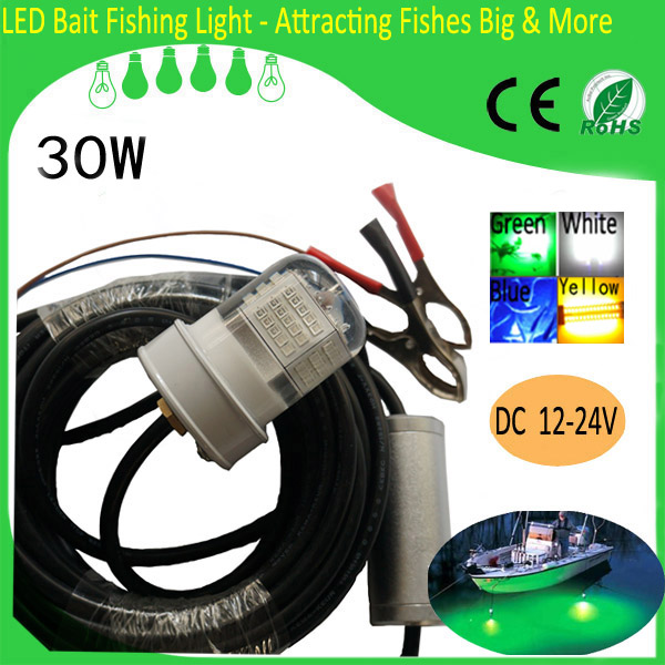 30W 12V LED Green Underwater Submersible Night Fishing Light Crappie Squid Boat Light Dock Lamp