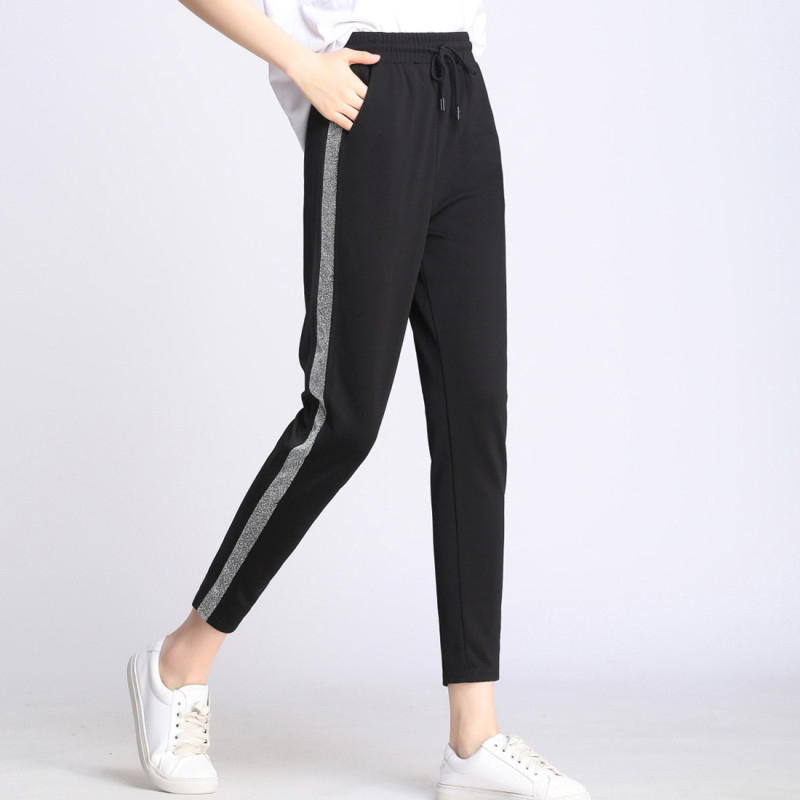 FSDKFAA 2019 Women High Quality Leggings Side Stripes Women Casual Legging Pant Plus Size High Waist Elastic Workout Leggins XXL