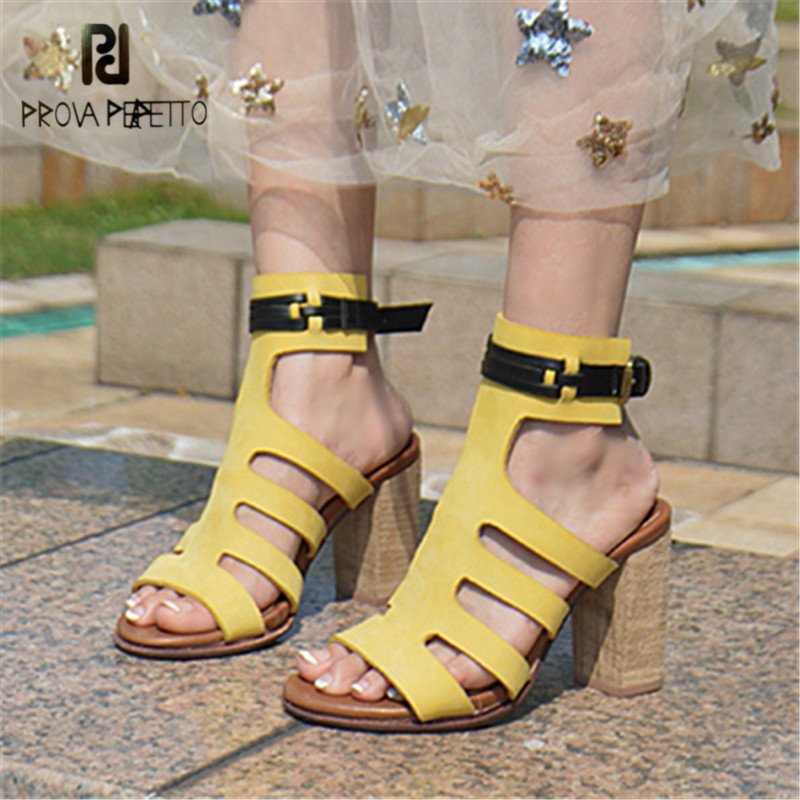Prova Perfetto Sexy Hollow Out Female Gladiator Sandals Ankle Strap Ethnic Summer Sandal Chunky High Heels Women Dress Shoes prova perfetto design women gladiator sandals summer boots sexy chunky high heels hollow out strap sandal women pumps ankle boot
