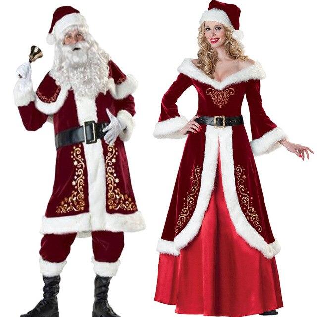 a full set of christmas costumes santa claus for adults red christmas clothes santa claus costume