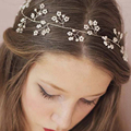 Fairy Vintage Bridal Wedding Flower Veil Rhinestones Handmade Headband Bridal Beaded Wedding Accessories Headwear ASAMJ02