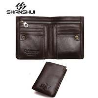 SHANSHUI 2018 Vintage Crazy Horse Handmade Leather Men Wallet Multi Functional Cowhide Coin Purse Genuine Leather