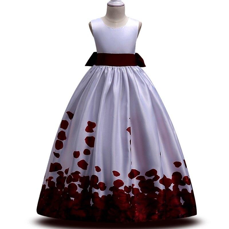 Teens party dress 2018 Kids Girls elegant Wedding Flower Girl Dress Sleeveless Satin Princess Pageant Formal long petal Dress