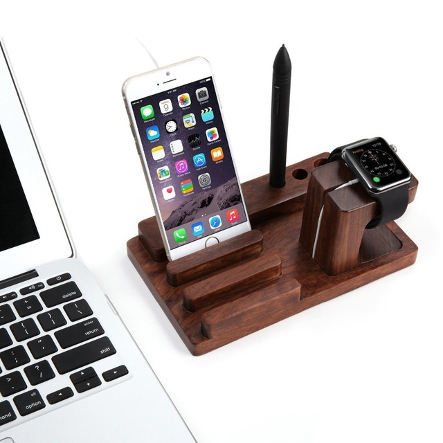 For Apple iPhone 6 6S Plus 5 5S Phone Bamboo Wood Holder Stand Mount for iPad Mini 2 4 Watch Charger Holder Tablet PC Stand