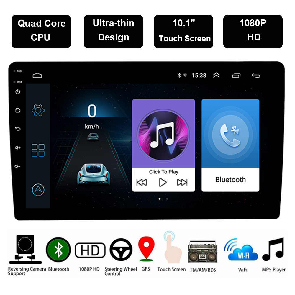 "Android 8,1 de 10,1 ""2Din HD reproductor Multimedia Auto reproductor de Radio 2 Din Autoradio estéreo Gps Bluetooth Fm Wifi coche MP5 48"