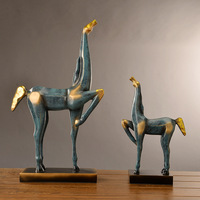 European creative Abstract horse resin crafts Modern personality Home Furnishing abstract decoration A pair