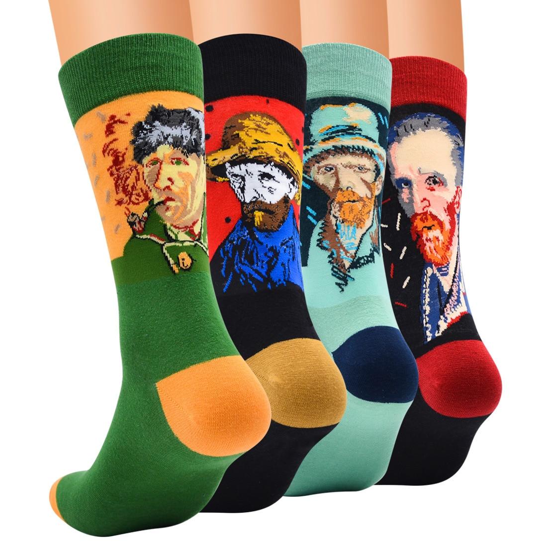 Vintage Men Socks Art Painting Cartoon Funny Socks Men Cotton Harajuku Novelty Long Tube Sokken Colored Happy Skate Socks BOC017