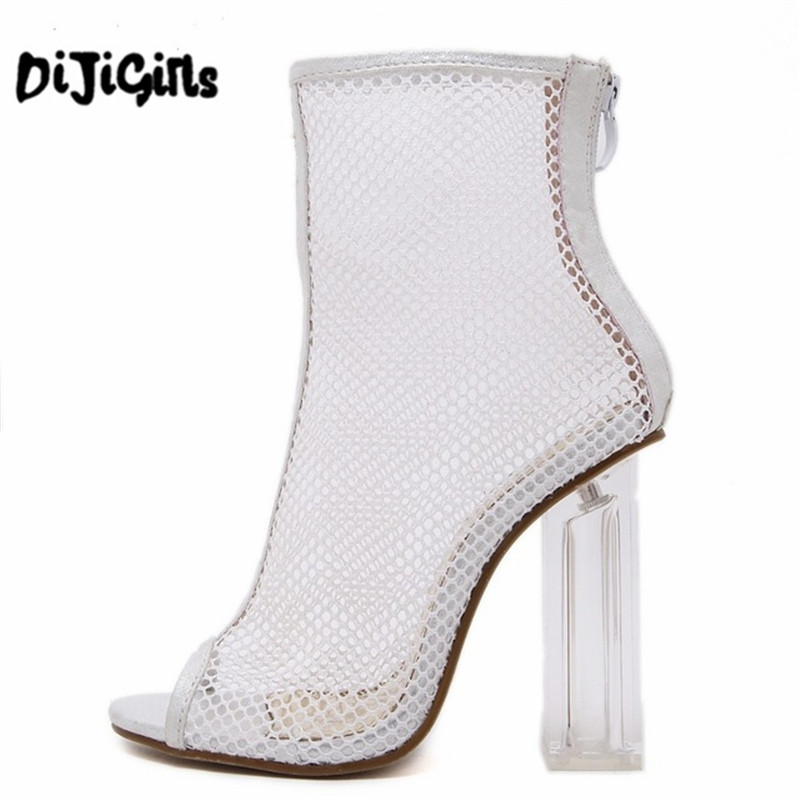 Women Summer Ankle Boots Mesh Cut Out Hollow Peep Toe Bootie Shoes Woman Transparent Block Thick High Heel Sandals  peep toe stiletto heel hollow out boots