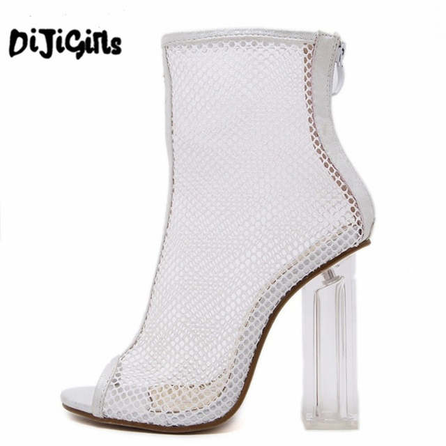 Online Shop Women Summer Ankle Boots Mesh Cut Out Hollow Peep Toe Bootie  Shoes Woman Transparent Block Thick High Heel Sandals  e6e2b9c4cac3