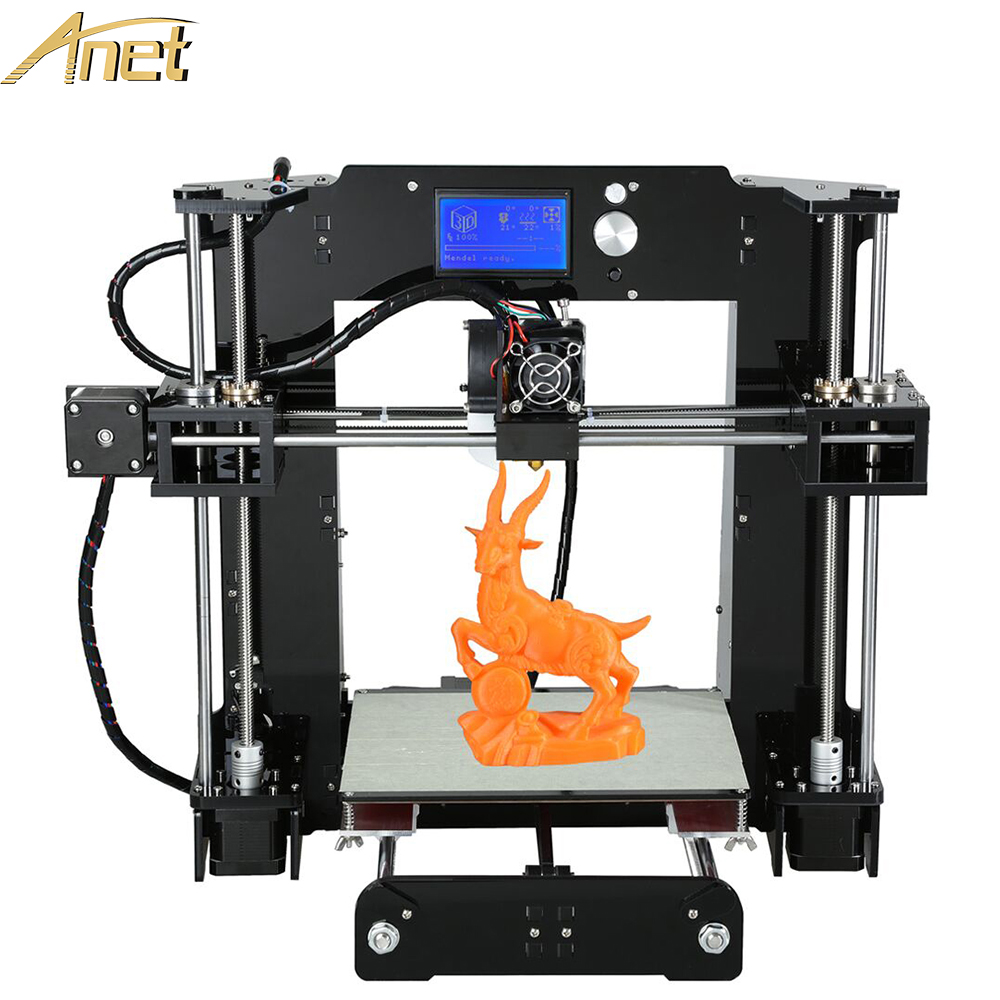 New Anet A8 A6 3d-printer High Precision Reprap DIY 3D Printer Kit With Aluminium Hotbed Free 10m Filament &Card& LCD Screen easy assemble anet a2 3d printer kit high precision reprap prusa i3 diy 3d printing machine hotbed filament sd card lcd