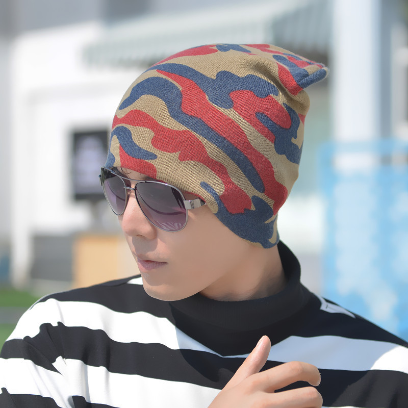 Beanies Winter Hats For Men Knitt Caps Beanies Hat Knit Camouflage Skullies Beanie male Bonnet Acrylic touca ZF12