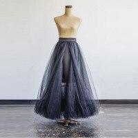 New design preto saia de tule fita cintura a line até o chão comprimento total maxi saia frente slit curto lining saias longas mulheres