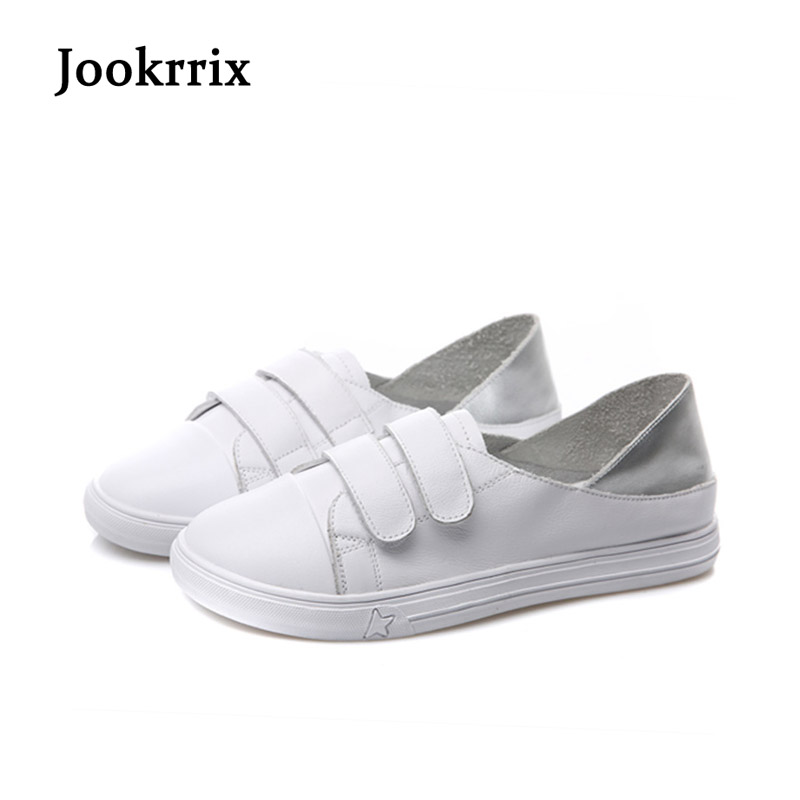 Jookrrix New Spring Fashion Lady Casual White Shoes Women Sneaker Leisure Shallow Shoes Silver Chic Flats Silp On Lace Up Soft 2017 new spring imported leather men s shoes white eather shoes breathable sneaker fashion men casual shoes